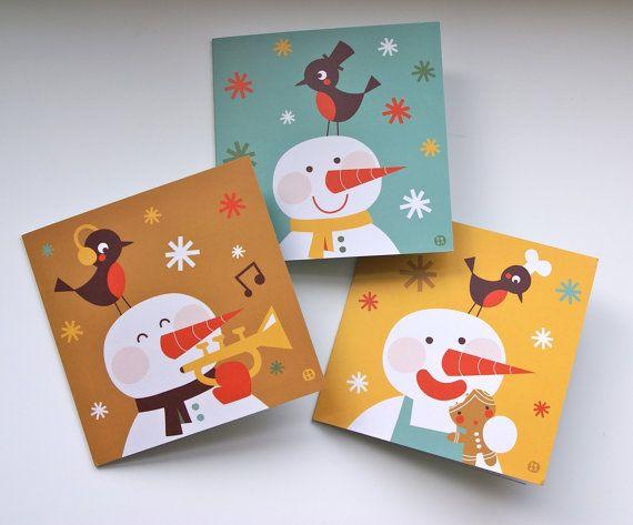 3 Snowman christmas cards
