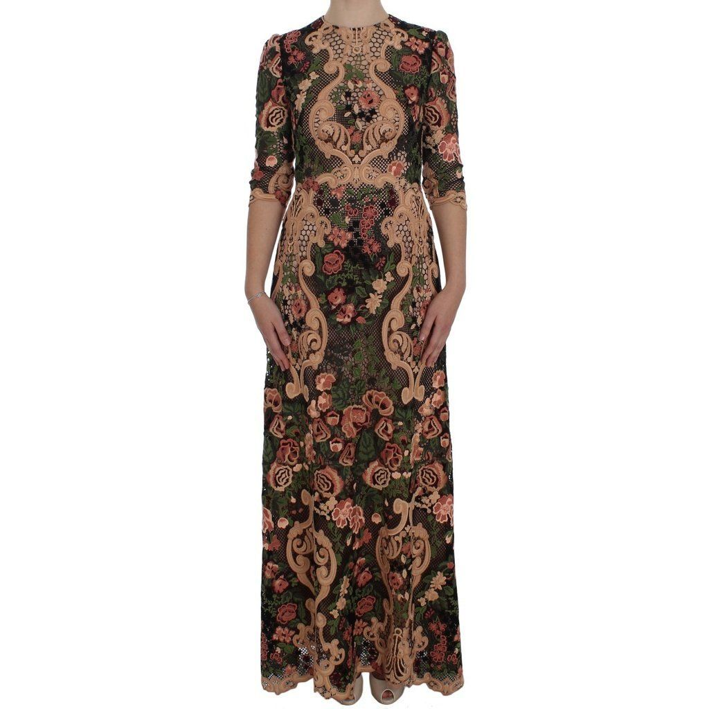 Dolce u gabbana multicolor floral ricamo lace long maxi dress