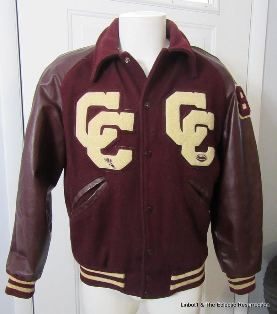 Vintage High School Varsity Letterman Jacket Cc Track Football Maroon White 40 Varsity Letterman Jackets Letterman Jacket Sweatshirt Jacket