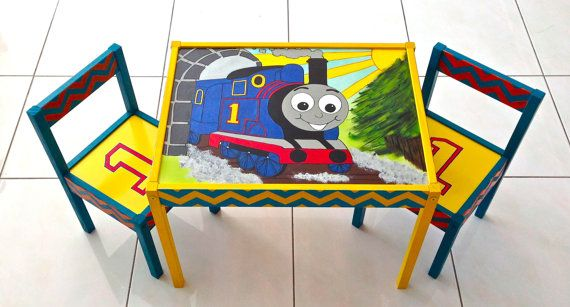 Thomas The Train With Chevron Stripes Play Table And 2 Chairs At Rain