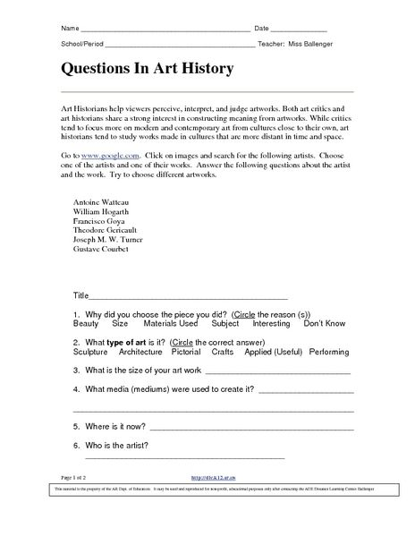 Questions In Art History 9th 12th Grade Worksheet History Worksheets Art History History 9th grade history worksheets