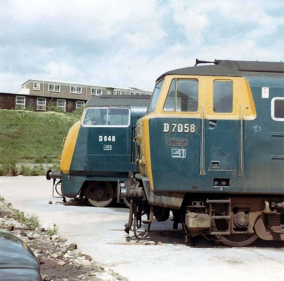 D7058 and D846 at Old Oak Common in the early 1970's. D7058 was built by Beyer Peacock Ltd and delivered to Cardiff Canton depot on 28th Nov 1962. Withdrawn on 3rd Oct 1971 only 9 years old and cut up at Swindon Works in June 1972. (Fred Castor)