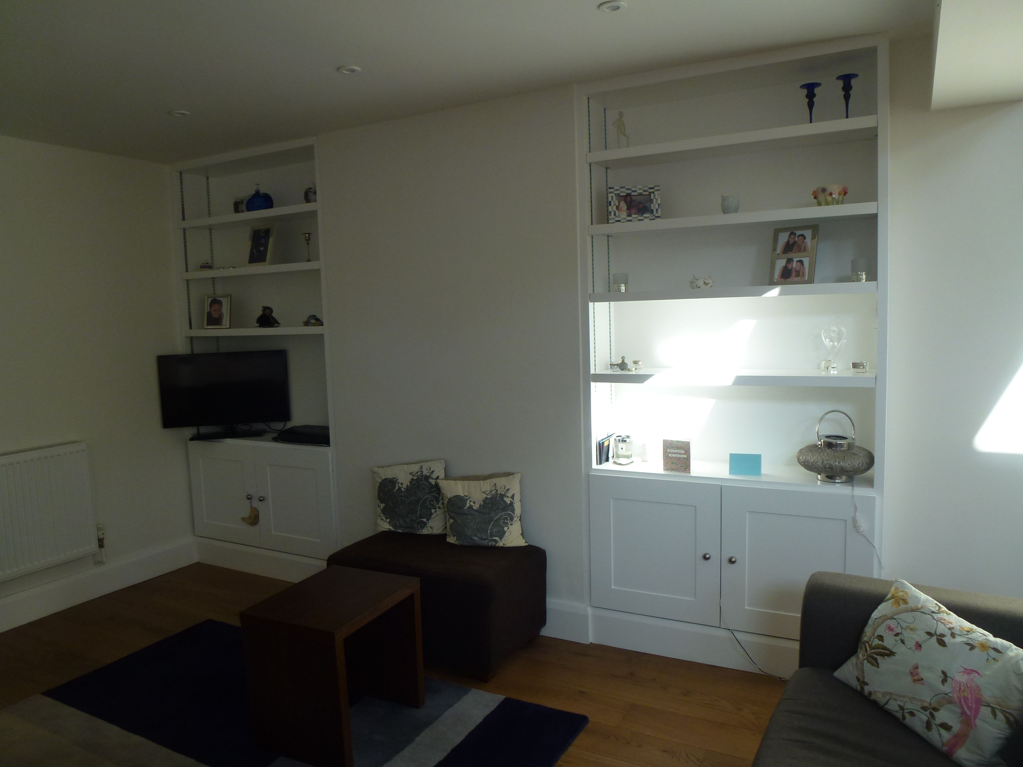 MDF alcove shelving. Thick shelves, shaker style doors, space for ...
