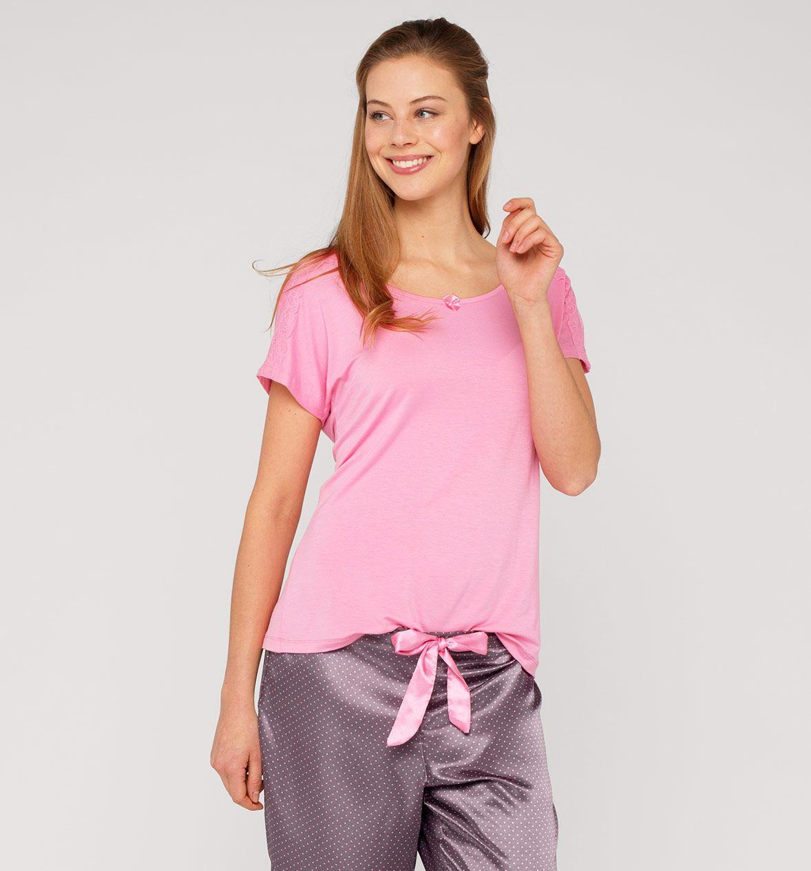 Camiseta De Pijama Con Encaje C A