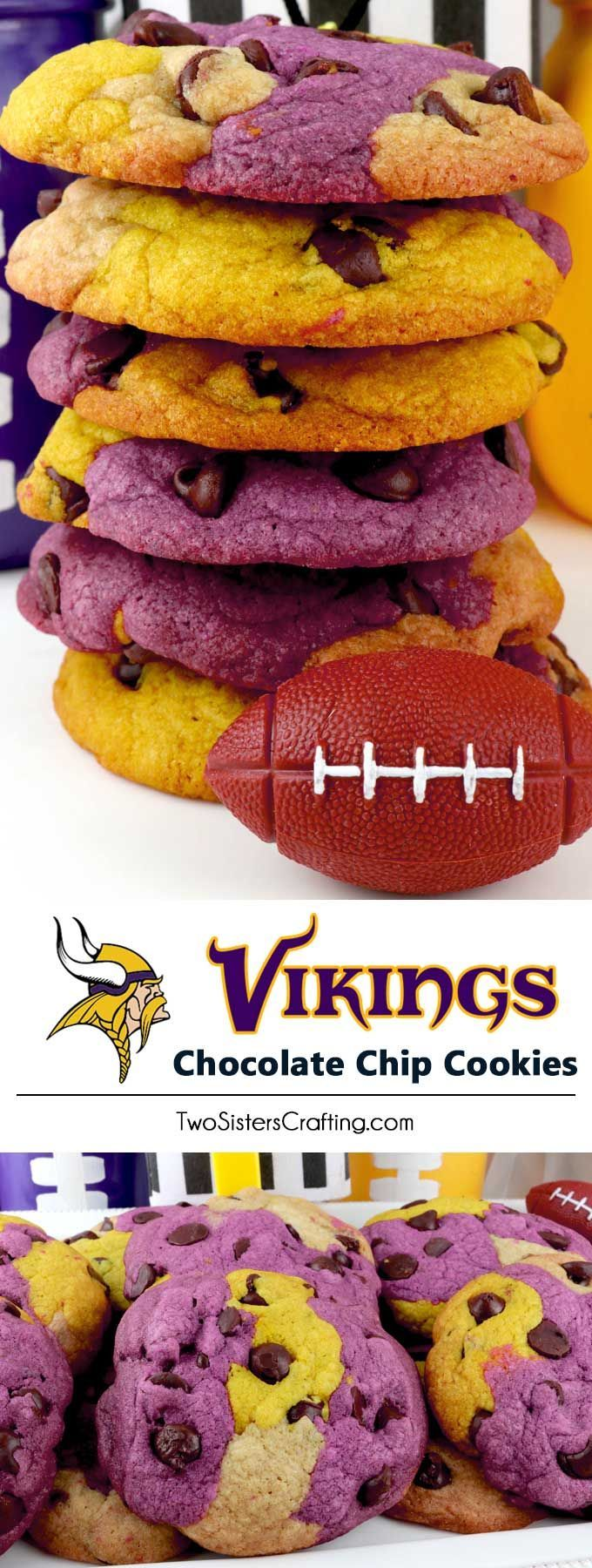 Minnesota Vikings Chocolate Chip Cookies #footballfood