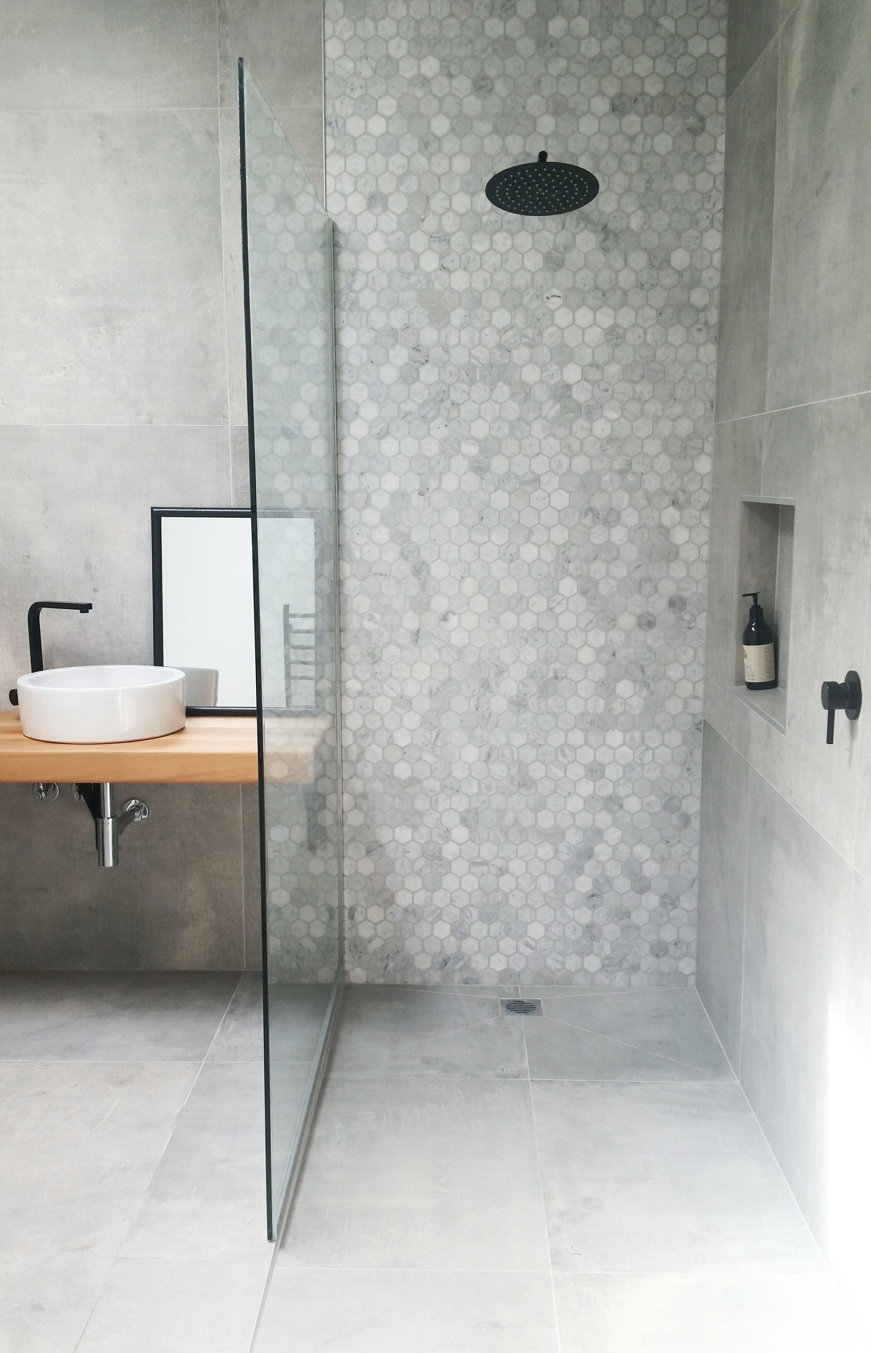 Contemporary Concrete Look Bathroom in 2020 Bathroom