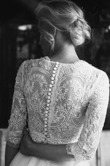 Don't you just love that vintage lace with the button up back? So beautiful!