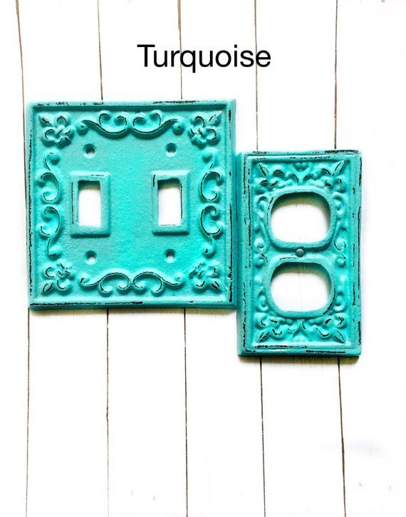 Kitchen Switch Light Cover Fleur De Lis Turquoise Plate Covers Shab