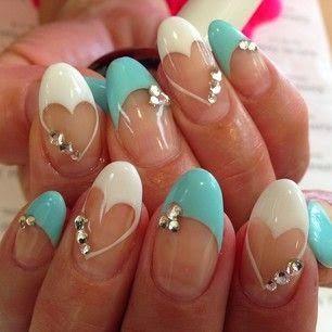 Cute White And Blue Nails Nails Nails Pinterest Creative Nail