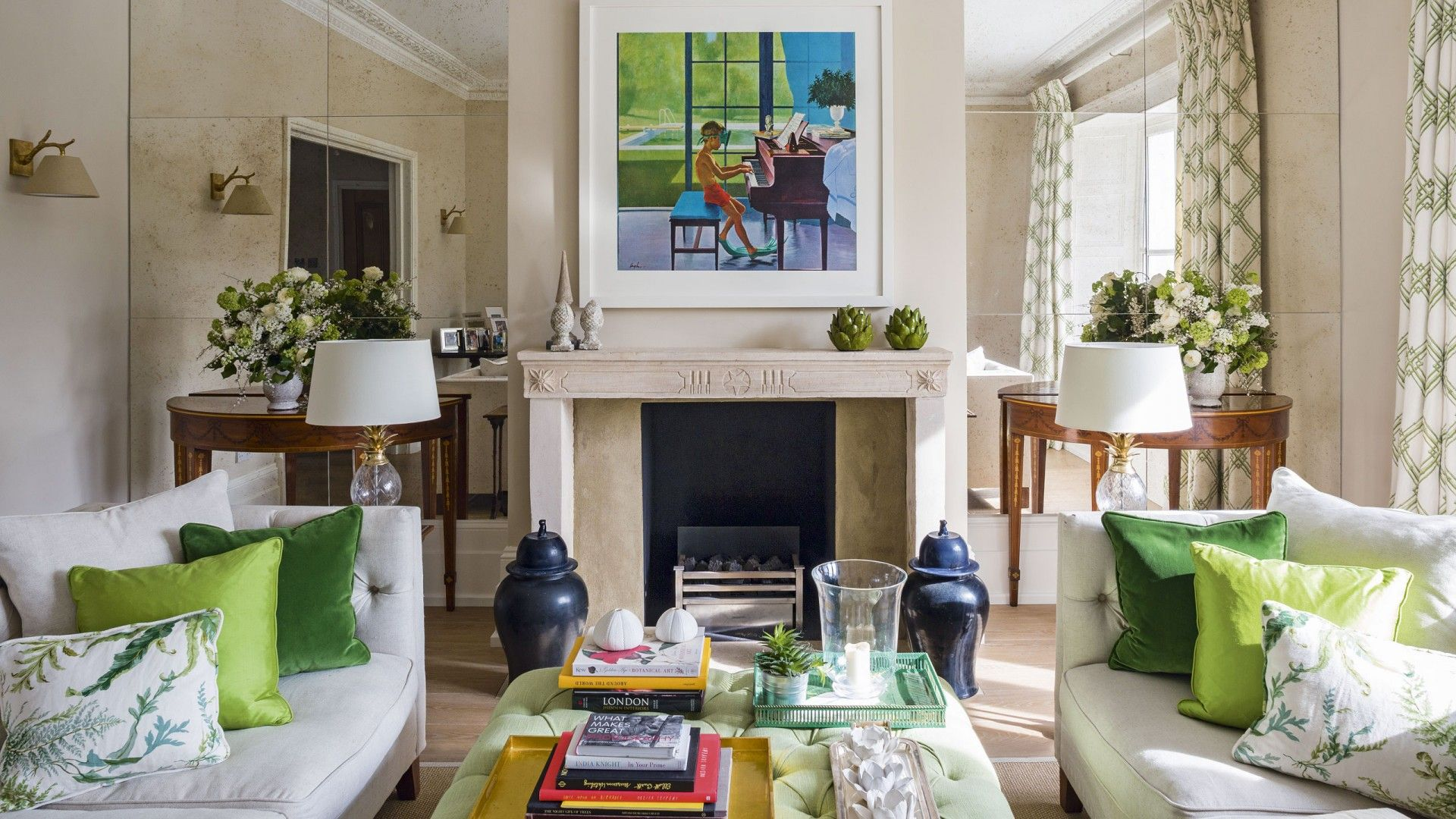 Elegant Neutral Living Room With Green Accents The Room Edit Grey Walls Living Room Neutral Living Room Home