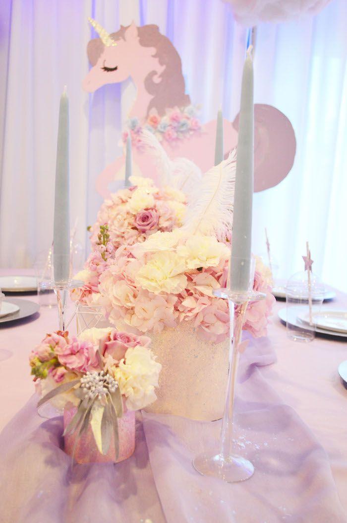 Flower candlestick centerpieces from an elegant pastel