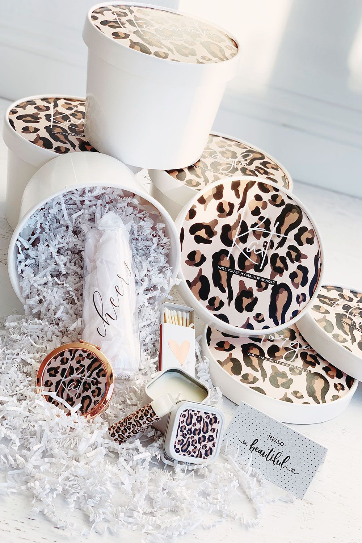 Leopard print gift box set bridesmaid proposal