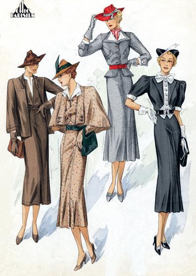 30s Fashion: A Quartet of Chic Ladies (1930s Fashion Fashion Greeting Cards) #yachtweekcroatiacostumes | Fashion, 30s fashion, 1930s fashion