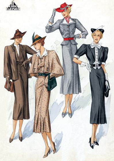 30s Fashion: A Quartet of Chic Ladies (1930s Fashion Fashion Greeting Cards) #yachtweekcroatiacostumes | Fashion, 30s fashion, 1930s fashion