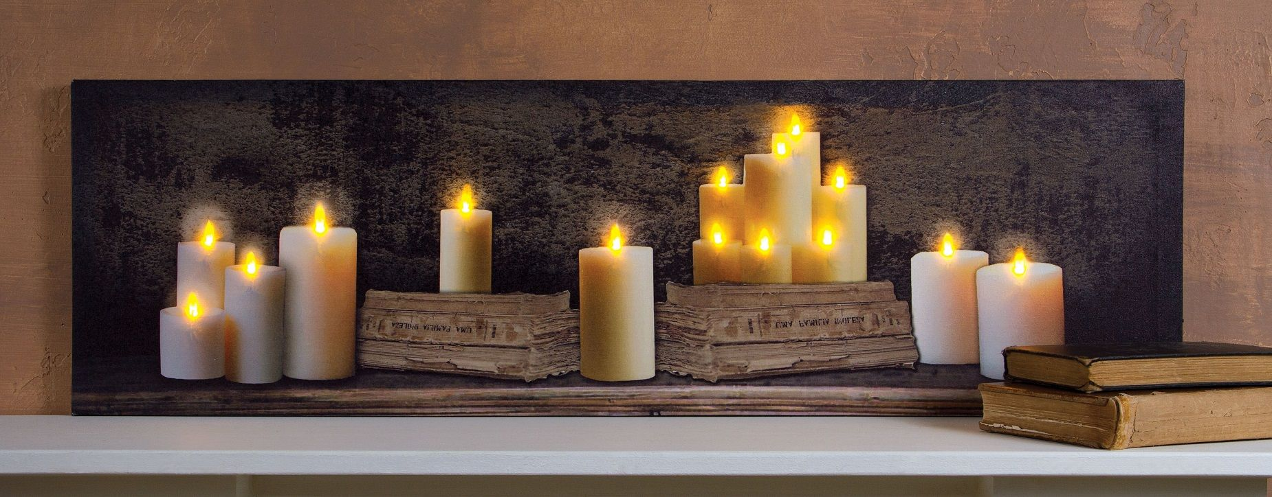 Radiance Lighted Small Canvas Mantle of Candles and Old Books with Timer