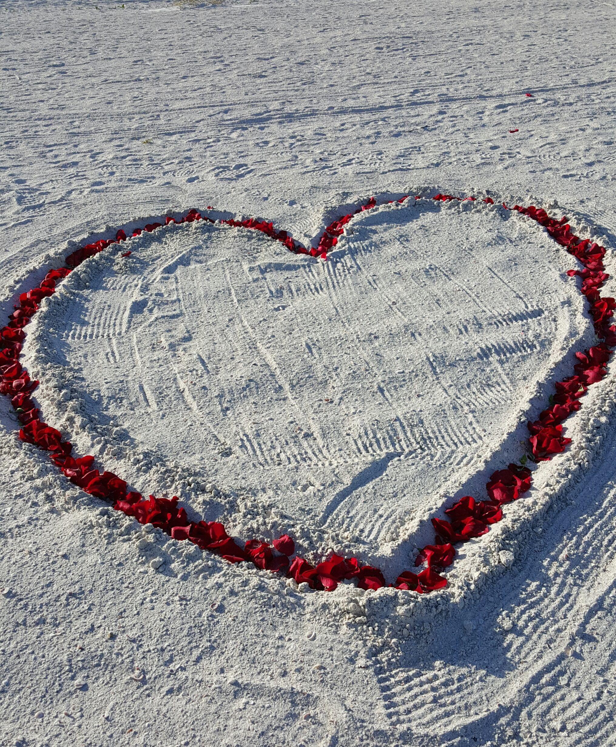 Fresh Rose Petal Heart In Sand Beach Wedding Ceremony Non Denominational
