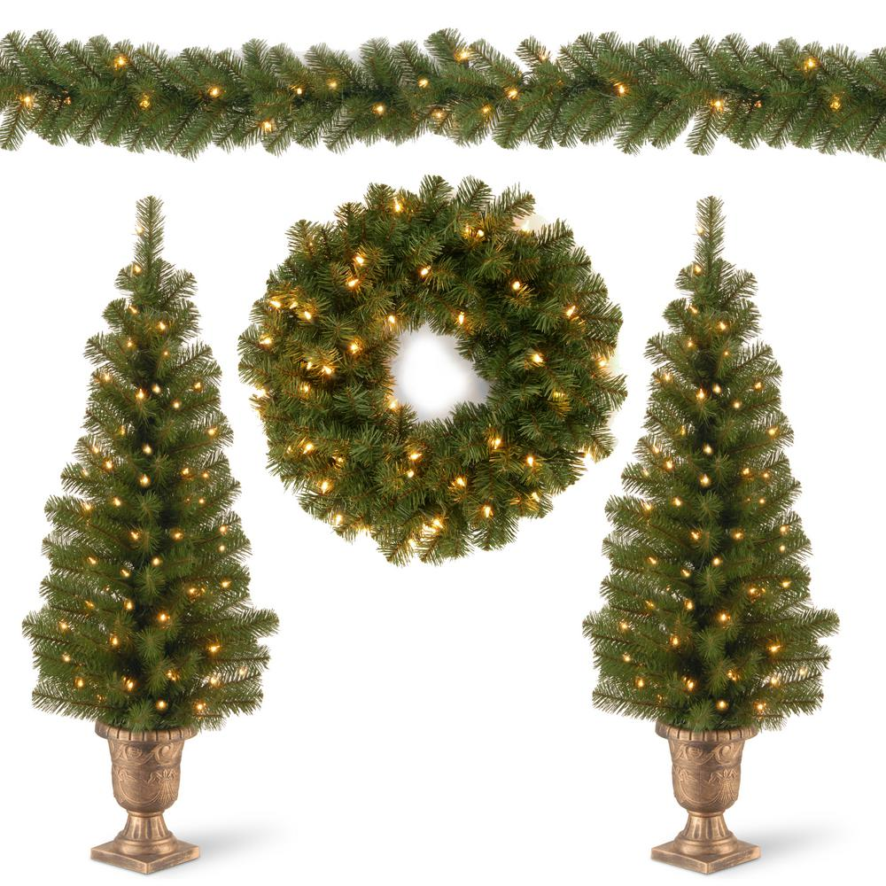 National Tree Company Two 4 Ft Entrance Trees In Black Gold Pot With 50 Clear Lights And 24 In Wreath With 20 Warm White With Caps Pro7 Asst 10 The Home Dep Christmas Greenery