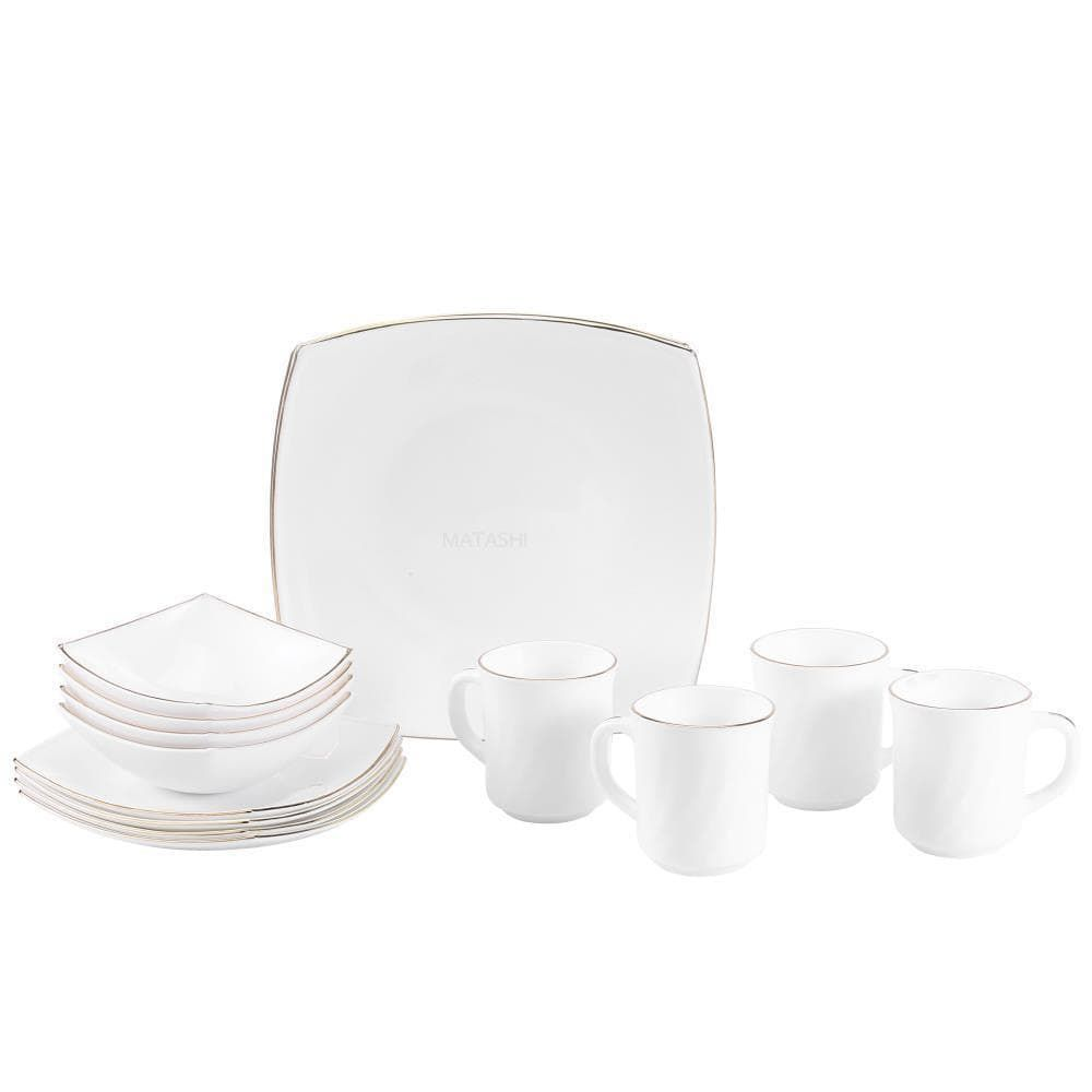 Matashi Platinum Collection Opal Glass 16 Piece Dinnerware Set
