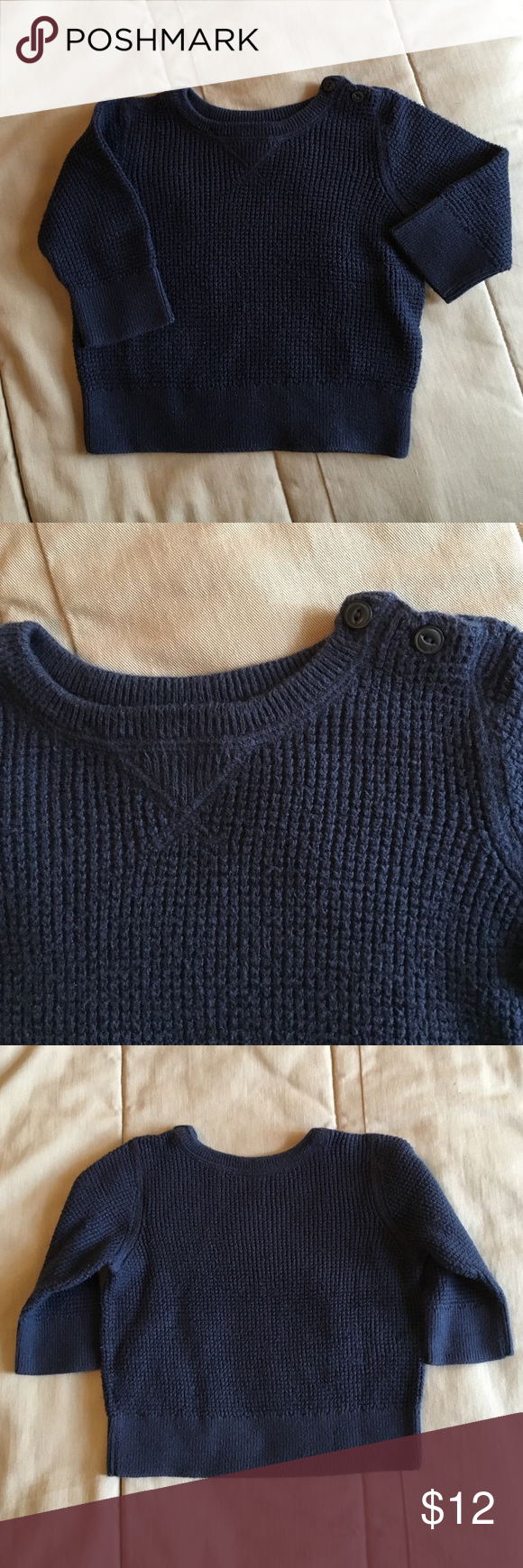 Baby GAP Sweater with Two Button Collar | Blue sweaters, Navy blue ...