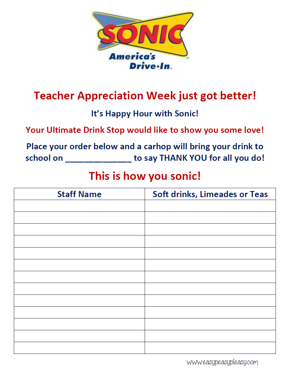 How To Show Teacher Appreciation In A Big Way  Order Form