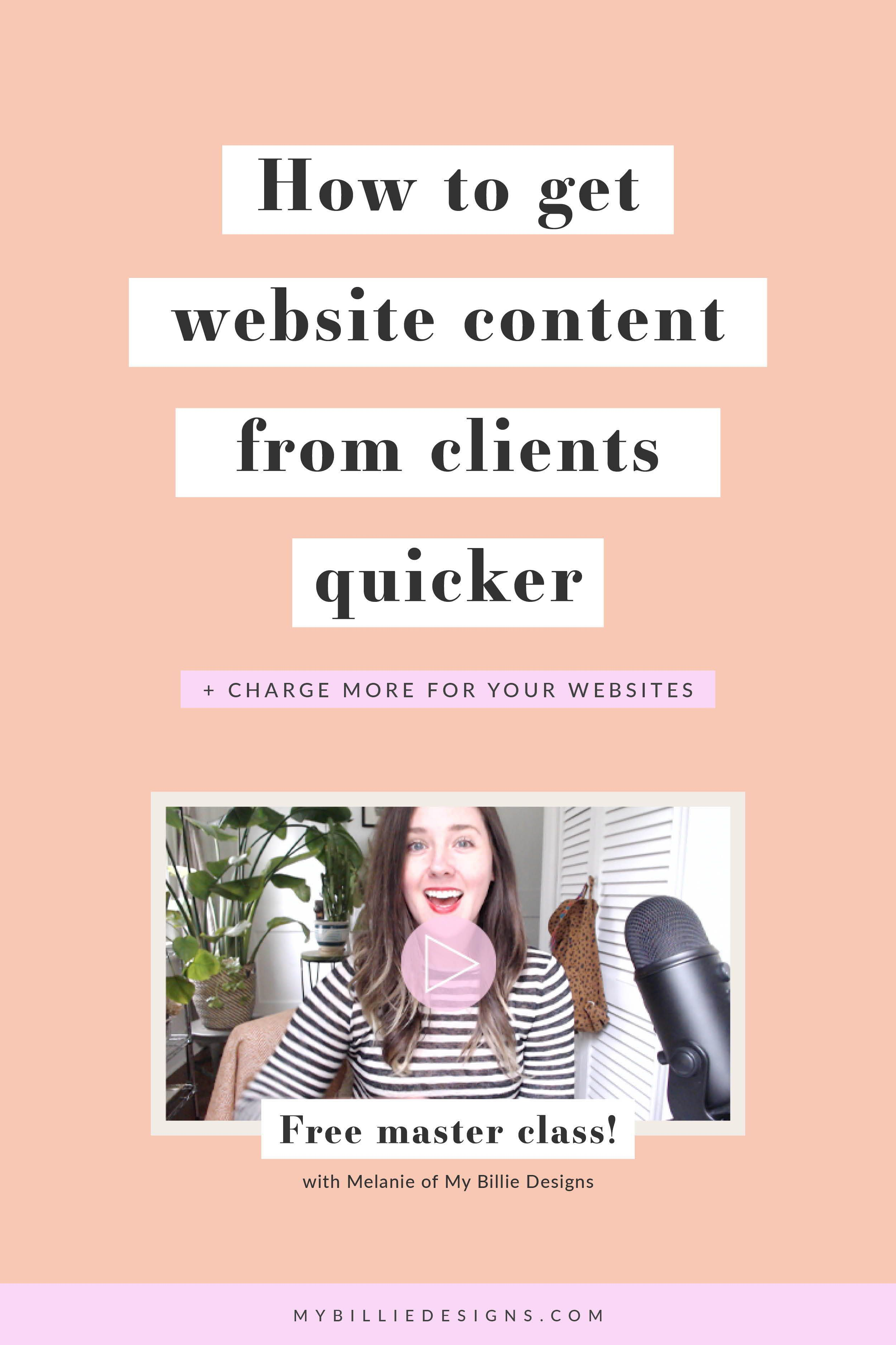 Website Content From Clients Quicker My Billie Designs Website Content Business Website Design Design Clients