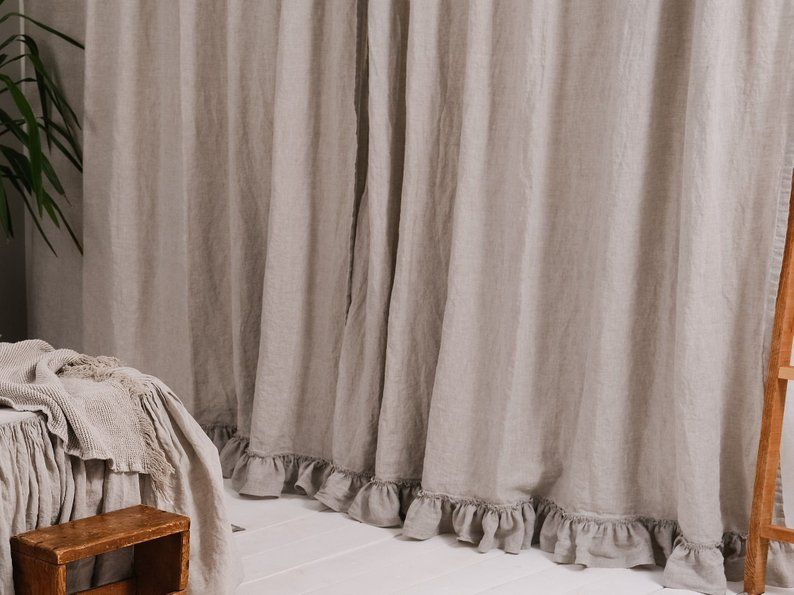 Linen Ruffled Curtains Set Of 2 For Home Shabby Chic Curtain