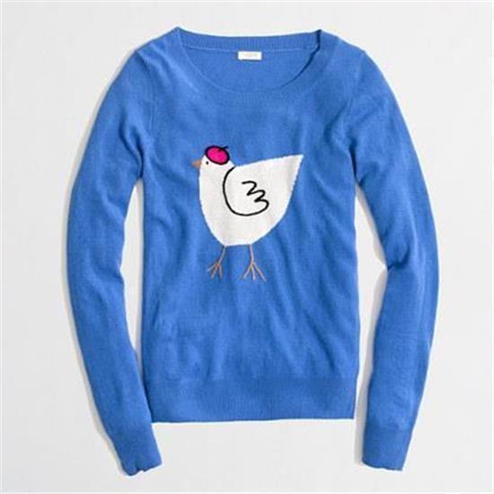 J Crew  Intarsia Teddie French Hen Sweater  $70 F5423 chicken beret Blue sz M #JCREW #SWEATER
