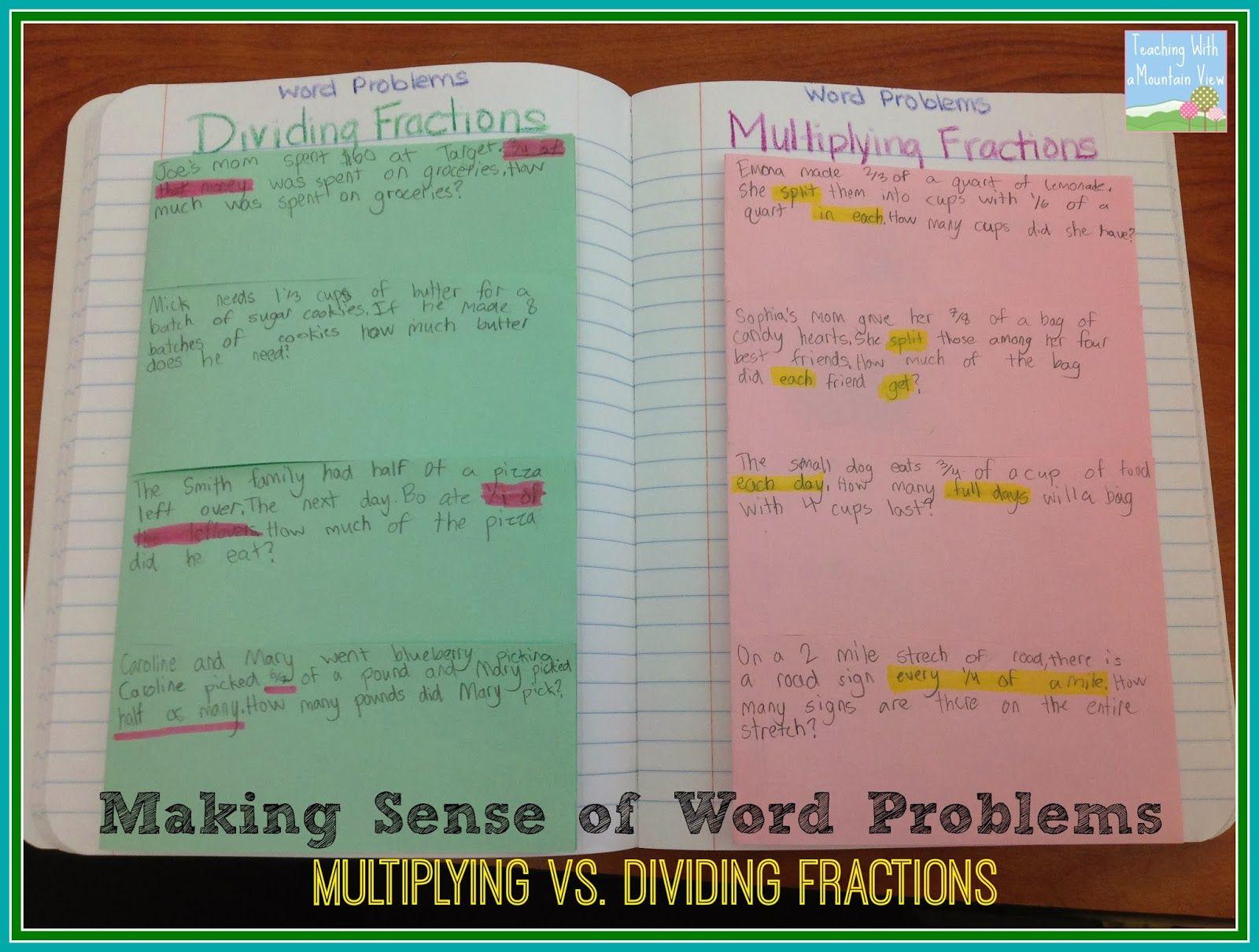 Making Sense Of Multiplying Amp Dividing Fractions Word Problems