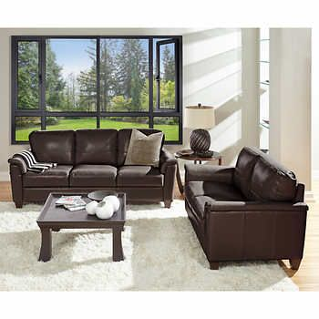 Ancona Brown Top Grain Leather Sofa And Loveseat Leather Sofa And Loveseat Costco Furniture Top Grain Leather Sofa