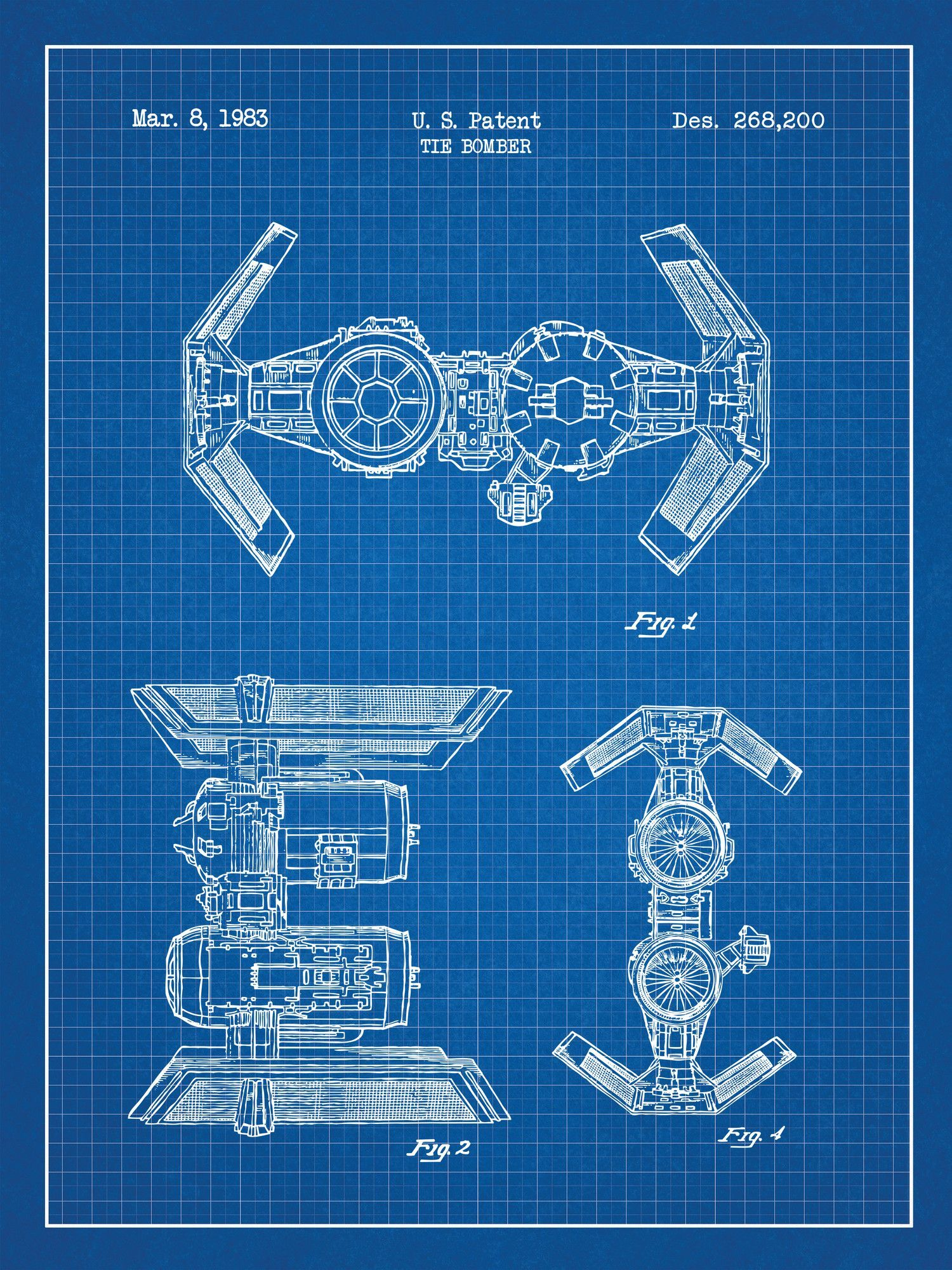 Star wars tie bomber blueprint graphic art poster in blue grid star wars tie bomber blueprint graphic art poster in blue gridwhite ink malvernweather Gallery