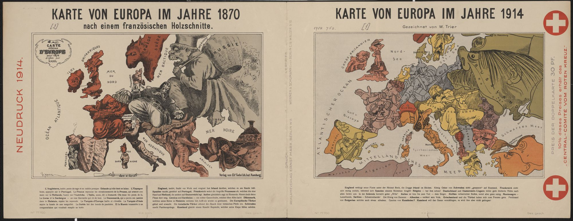 World War I posterSatirical maps comparing the