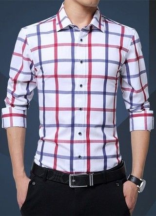 546470b3f2 Camisa Elegante y Sofisticada de Estilo Juvenil a Cuadros - en Blanco y Azul
