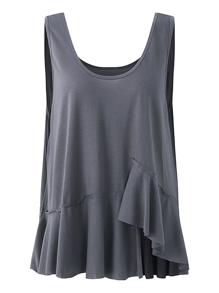 27a38c243db029 Sale 11% (13.59 ) - Loose Pure Color Dark Gray Sleeveless Tank Tops For  Women