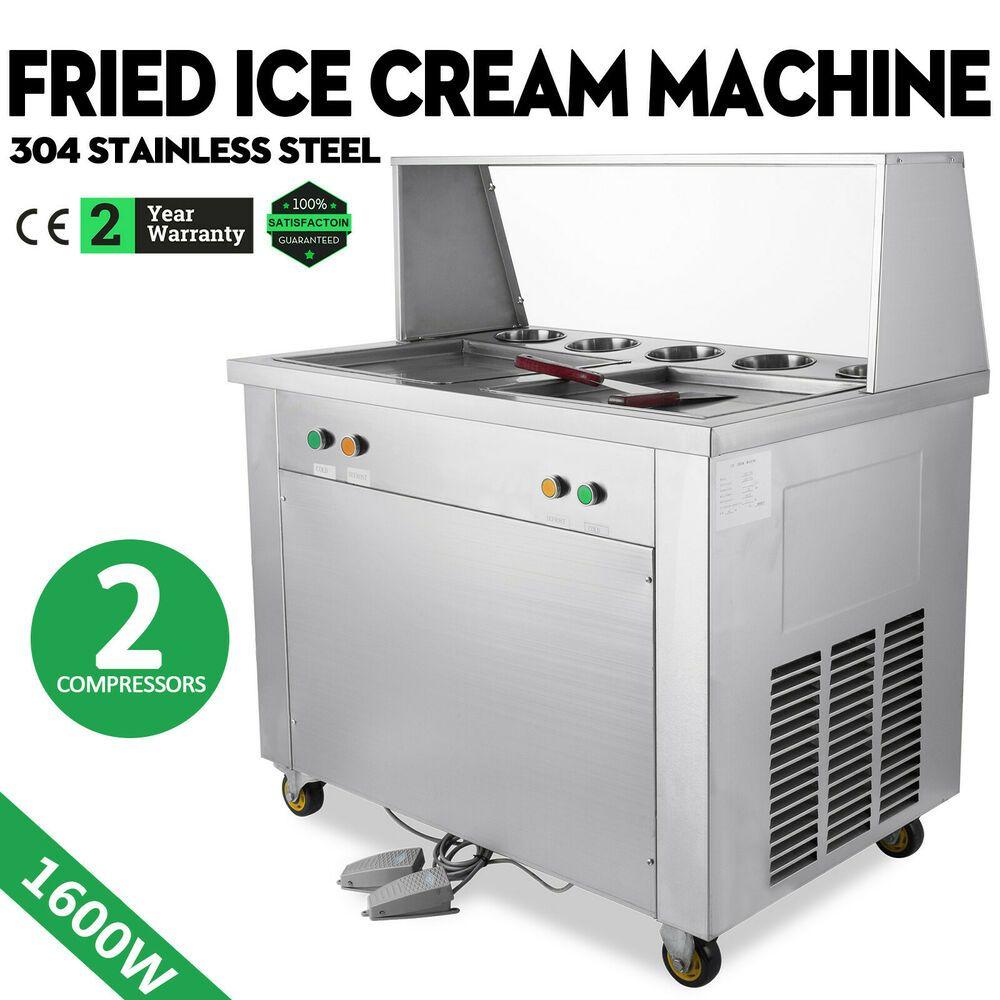 Ebay Sponsored Double Pan Fried Ice Cream Machine W 5 Buckets