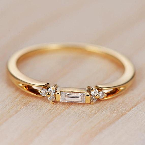 Baguette Engagement Ring Unique Yellow Gold Wedding Ring Baguette