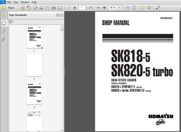 Komatsu Sk818 5 Sk820 5 Turbo 37bf50111 37btf50112 And Up Skid Steer Loader Shop Manual Download Skid Steer Loader Komatsu Turbo
