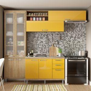 Resultado De Imagem Para Cozinha Armario Madeira Amarelo Com