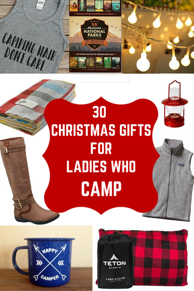 Christmas gift guide for campers, camping gifts, camping supplies, christmas gift ideas for women campers, christmas gift ideas for outdoorswomen, ...
