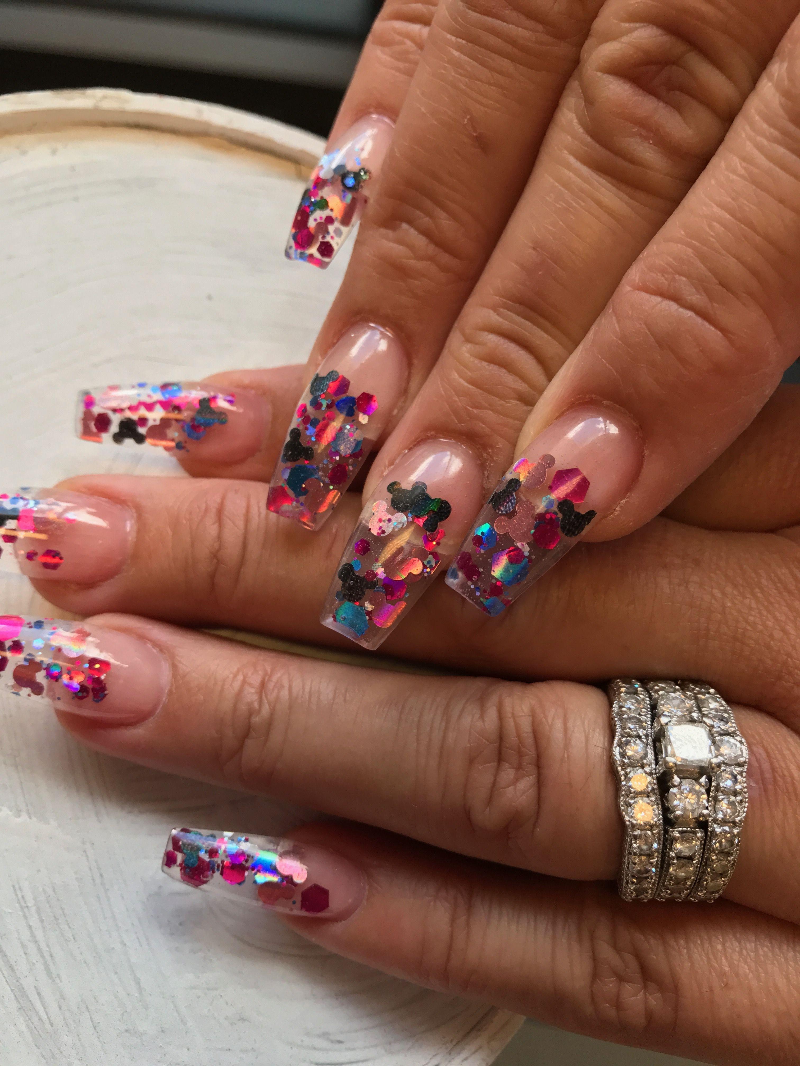 Disney Nails Mickey Silhouette Disney Acrylic Nails Mickey Nails Disneyland Nails