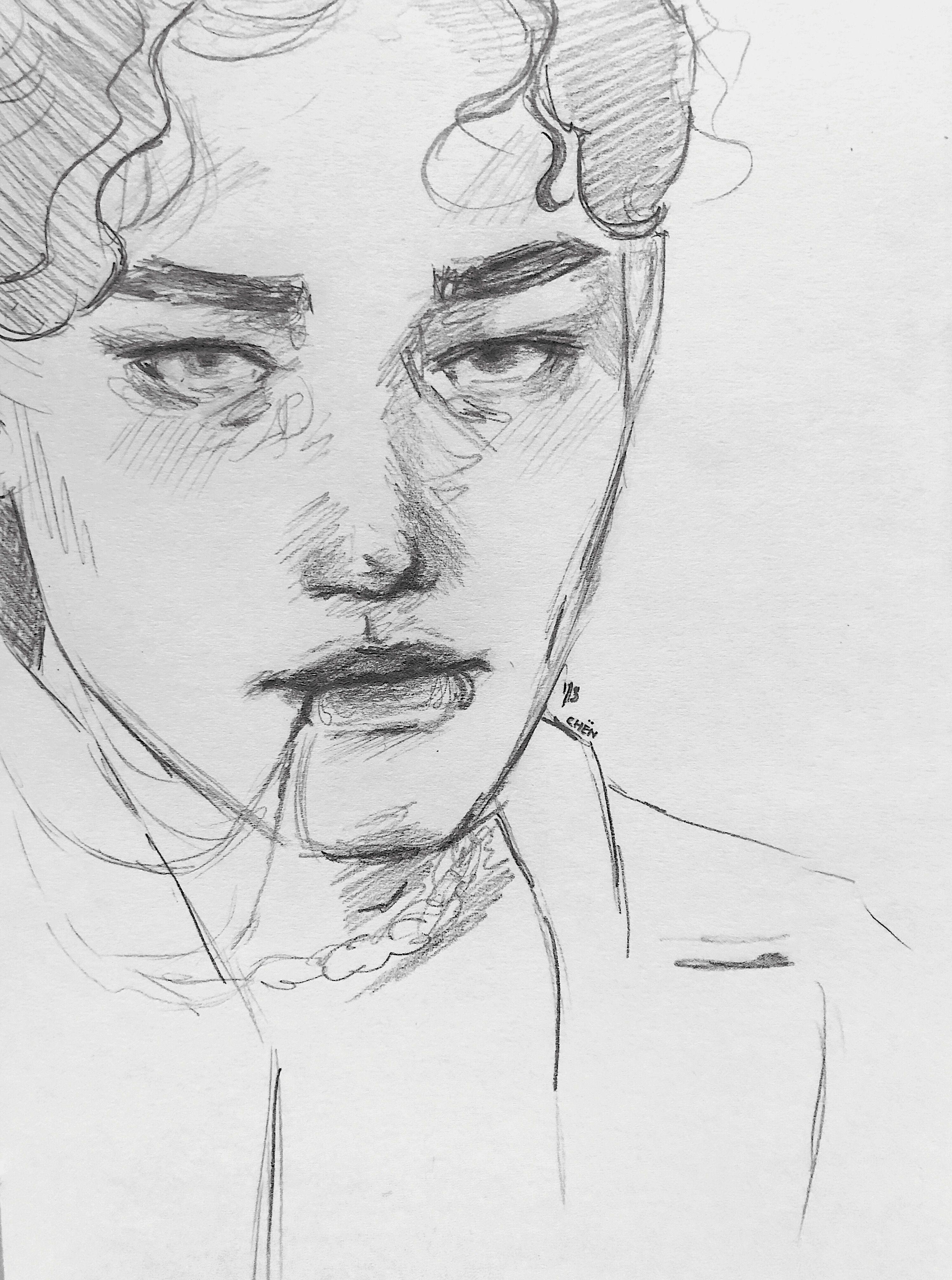 #art #artist #sketch #sketchbook #bw #blackandwhite #aesthetic #exo #exol #exochen #chen #jongdae #kpop #kpopfanart #design #illustration