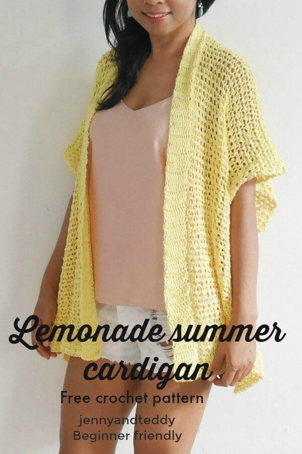 lemonade summer cardigan free crochet pattern beginner friendly ...