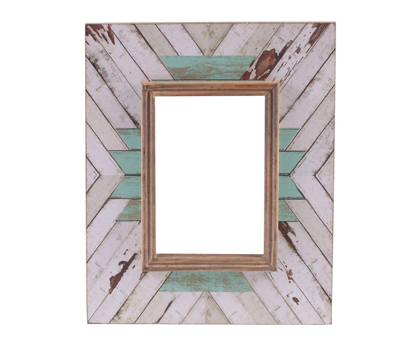 Marco de fotos Wooden, blanco y turquesa - foto 11,5x16,5 cm ...