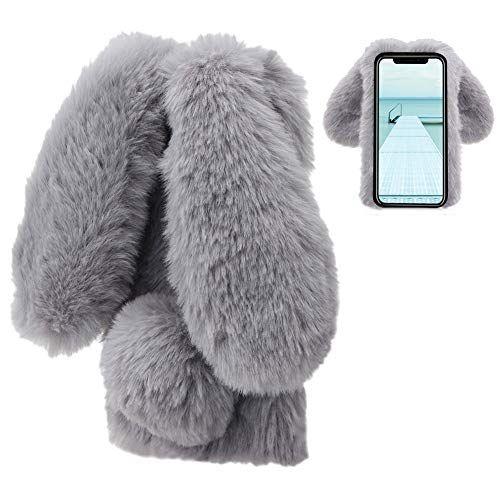 Coque iPhone XR Lapin Peluche Fourrure Gris Mignon Kawaii 3D Lapin ...