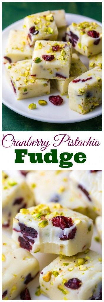 Photo of White Chocolate Cranberry Pistachio Fudge – Baker by Nature
