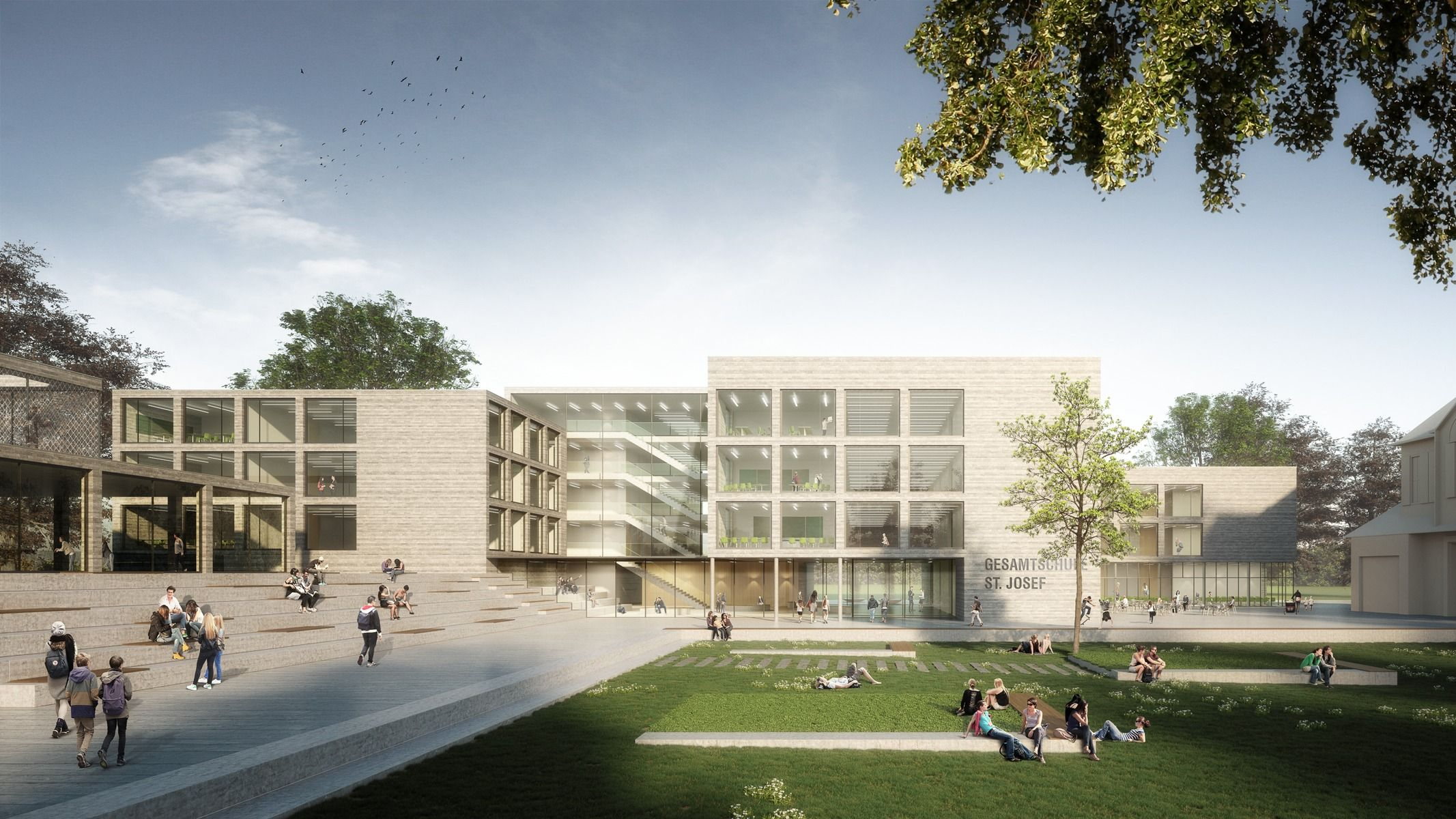 Architekt Bad Honnef Gesamtschule St. Josef Bad Honnef Acms Architekten Gmbh | 2017 Project Website: Http://www.rendertaxi.de/en/references/projects/01516.… | Bad Honnef, Schule, Neubau