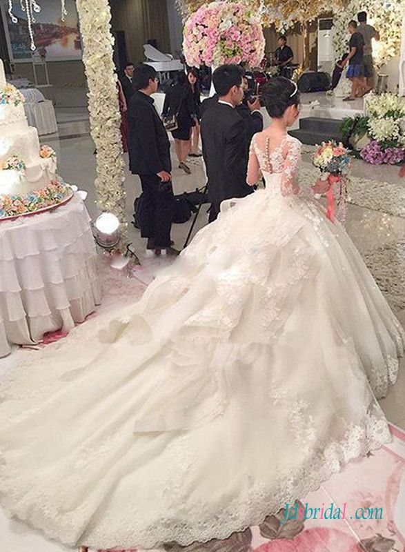 Fairy chathedral long train organza florals lace princess for Ball gown wedding dresses with long trains