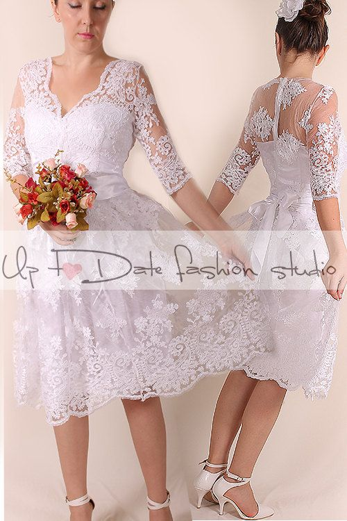 Lace short Wedding dress / V front /Recepion/knee length/ party ...