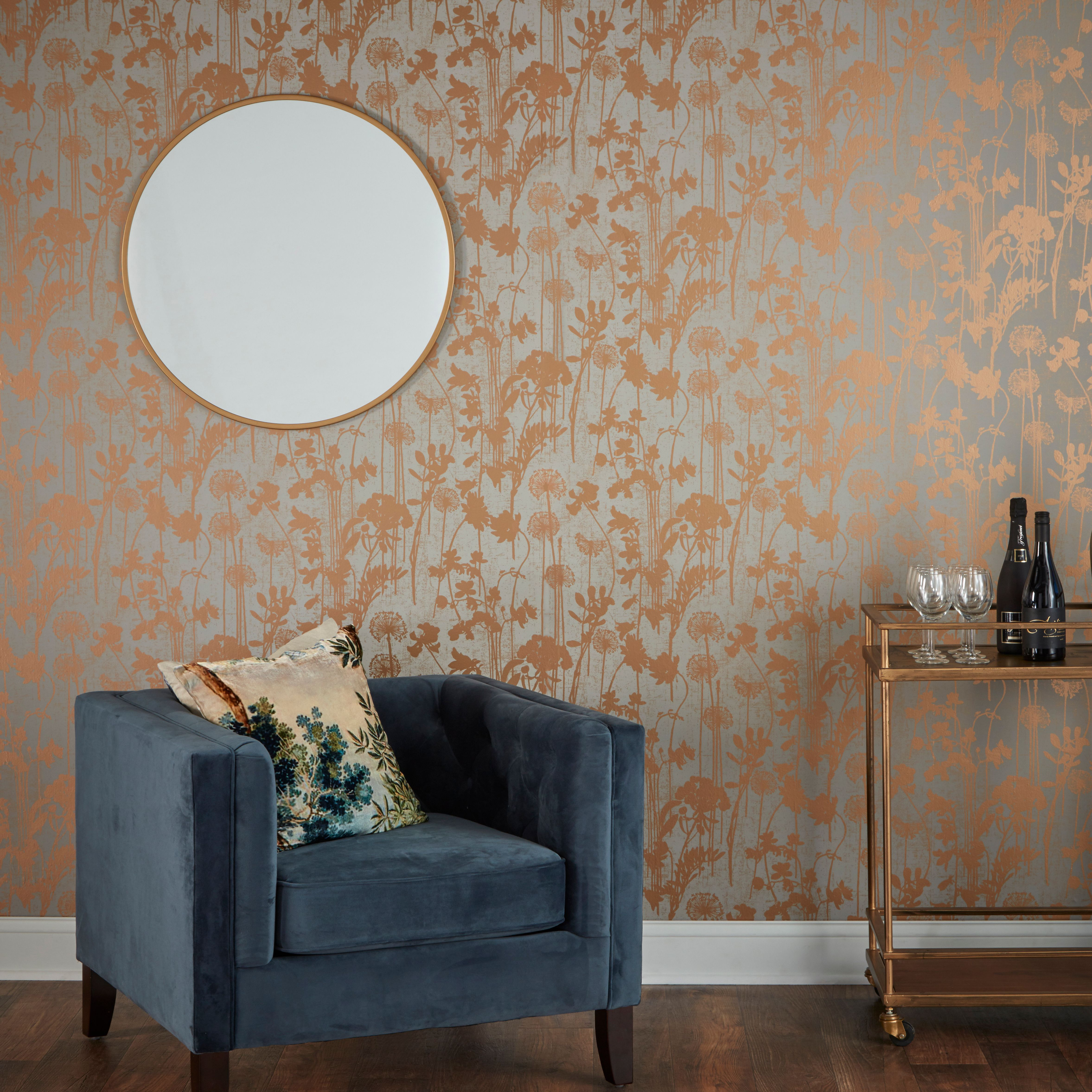 Distressed Floral In A Grey And Metallic Copper Combines Meta