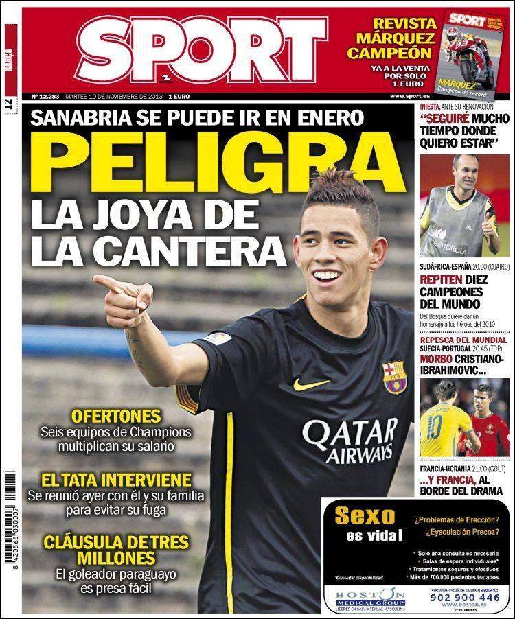 Los Titulares y Portadas de Noticias Destacadas Españolas del 19 de Noviembre de 2013 del Diario Sport ¿Que le pareció esta Portada de este Diario Español?