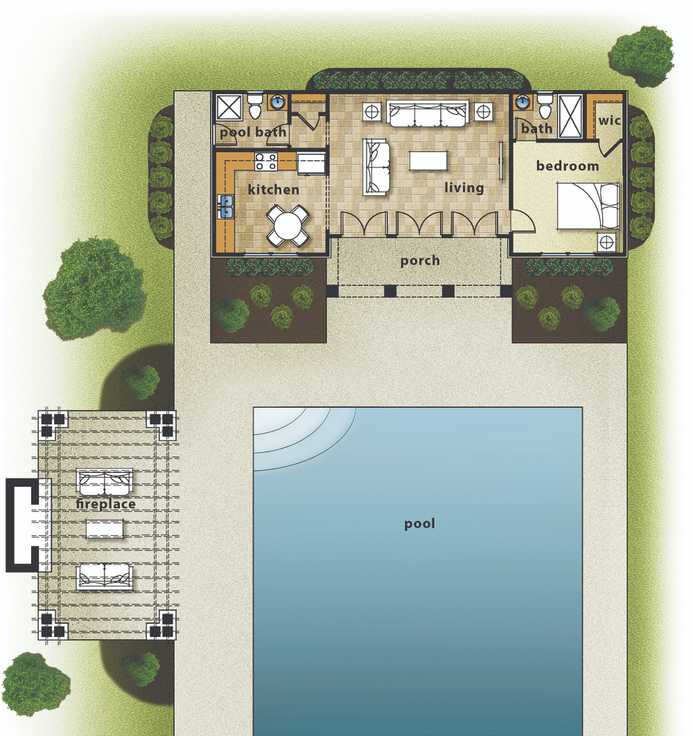 Small Pool House Layout Google Search Pool House Plans Guest House Plans Modern Pool House